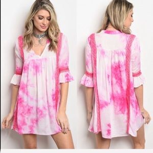 Dresses & Skirts - Pink coral tie-dye dress